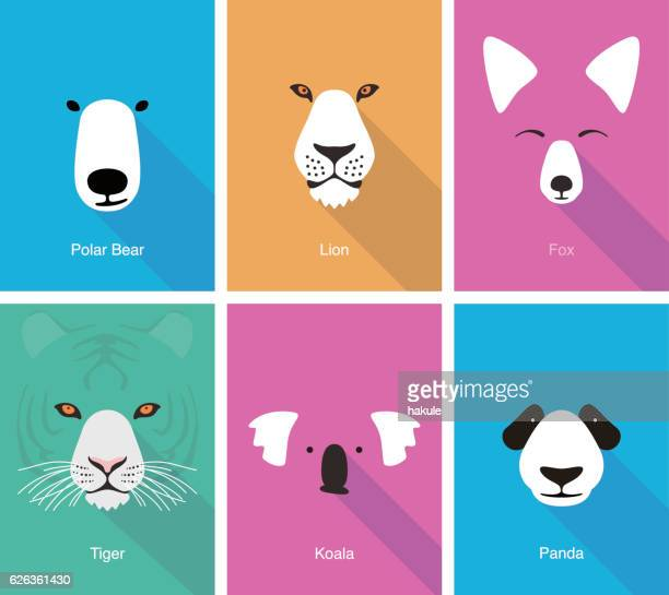 ilustraciones, imágenes clip art, dibujos animados e iconos de stock de animal cartoon face, flat face icon vector - zorro