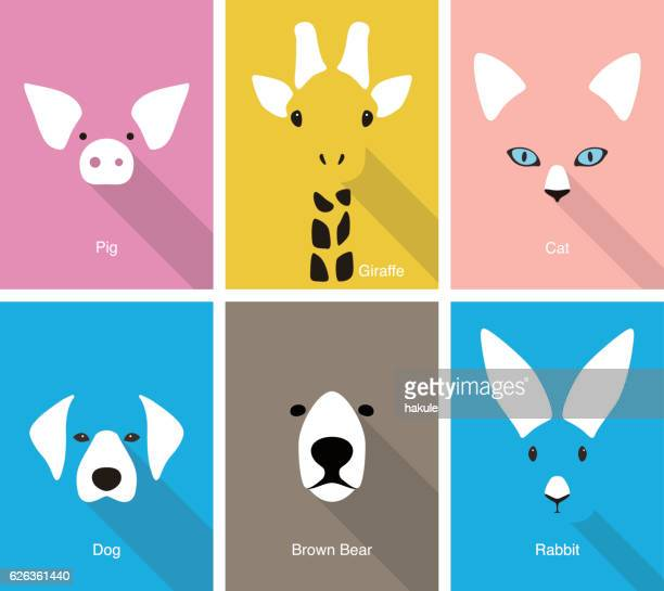illustrazioni stock, clip art, cartoni animati e icone di tendenza di animal cartoon face, flat face icon vector - animal