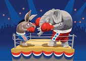 Animal cartoons boxing on the ring