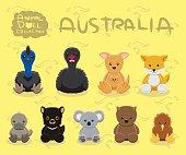 Animal Dolls Australia Set Cartoon Vector Illustration