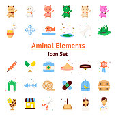 Animal Elements vector icon set