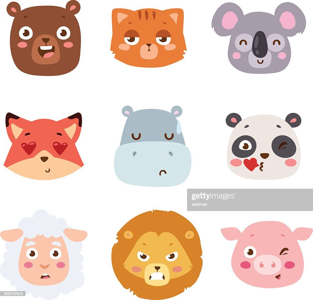 Animal emotion avatar vector illustration icon
