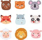 Animal emotion avatar vector illustration icon