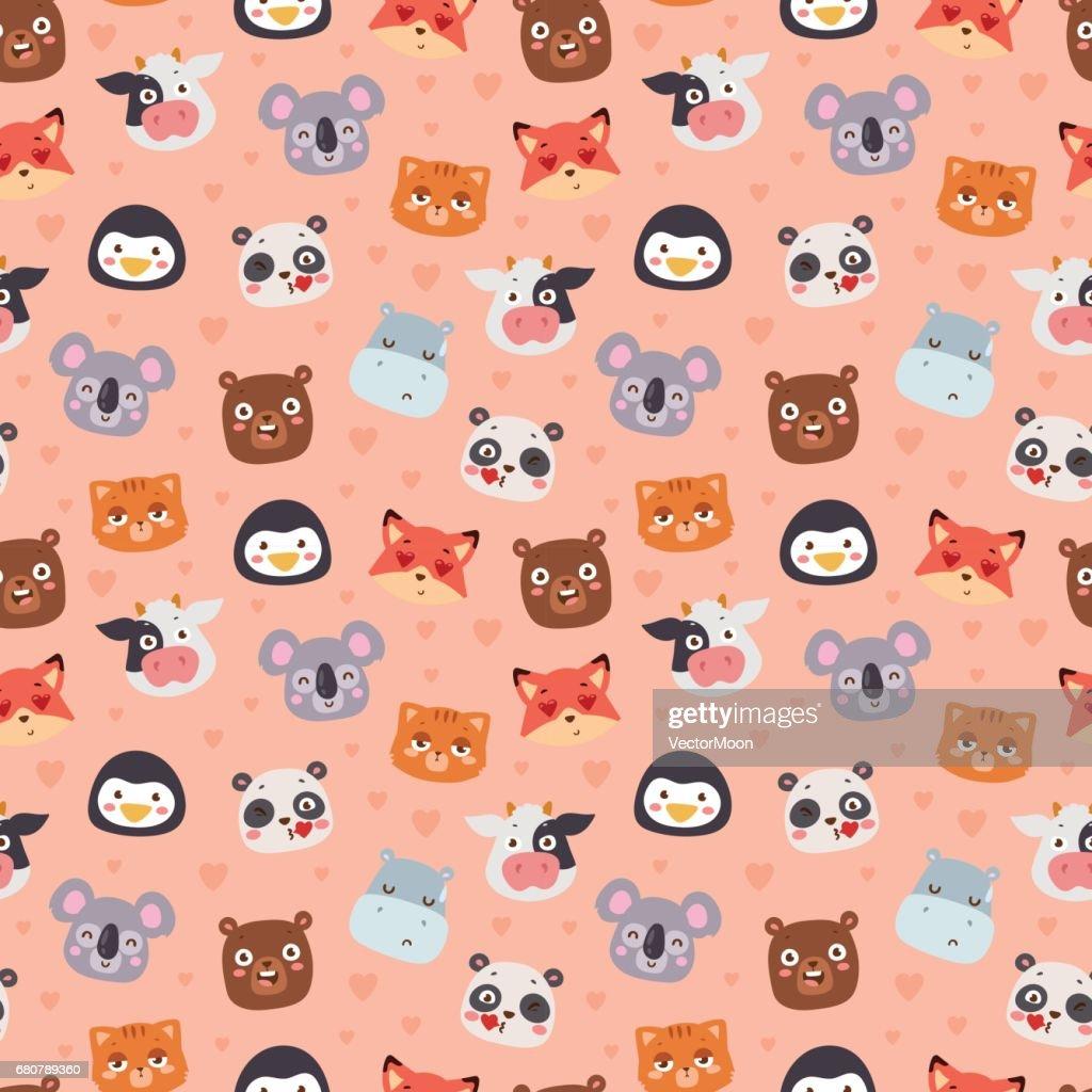 Animal emotion avatar vector illustration icons seamless pattern
