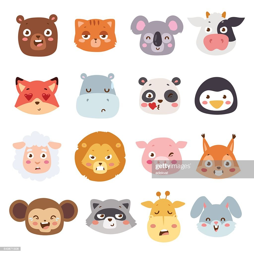 Animal emotions vector illustration.