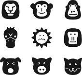 animal face black flat icon set, UI