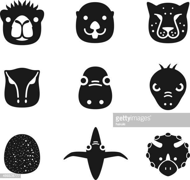 animal face black flat icon set - animal body part stock illustrations, clip art, cartoons, & icons