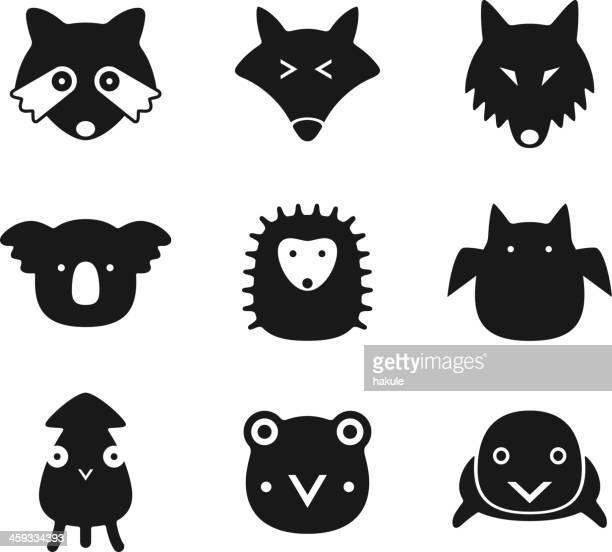 illustrations, cliparts, dessins animés et icônes de animal visage noir ensemble d'icônes plat - koala