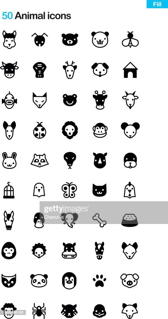Animal Face Fill Icon Pack