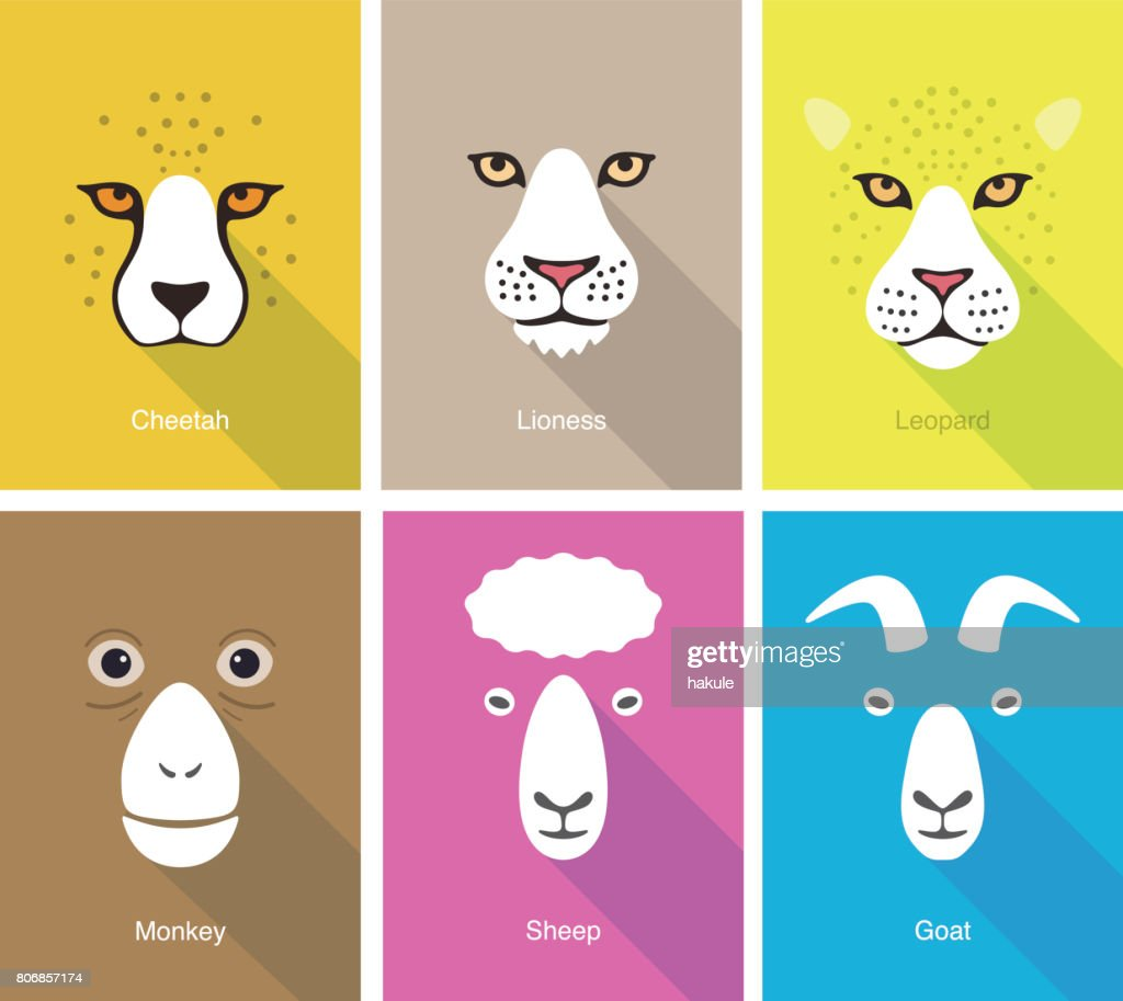 animal face flat icon set design, vector illustration : stock illustration