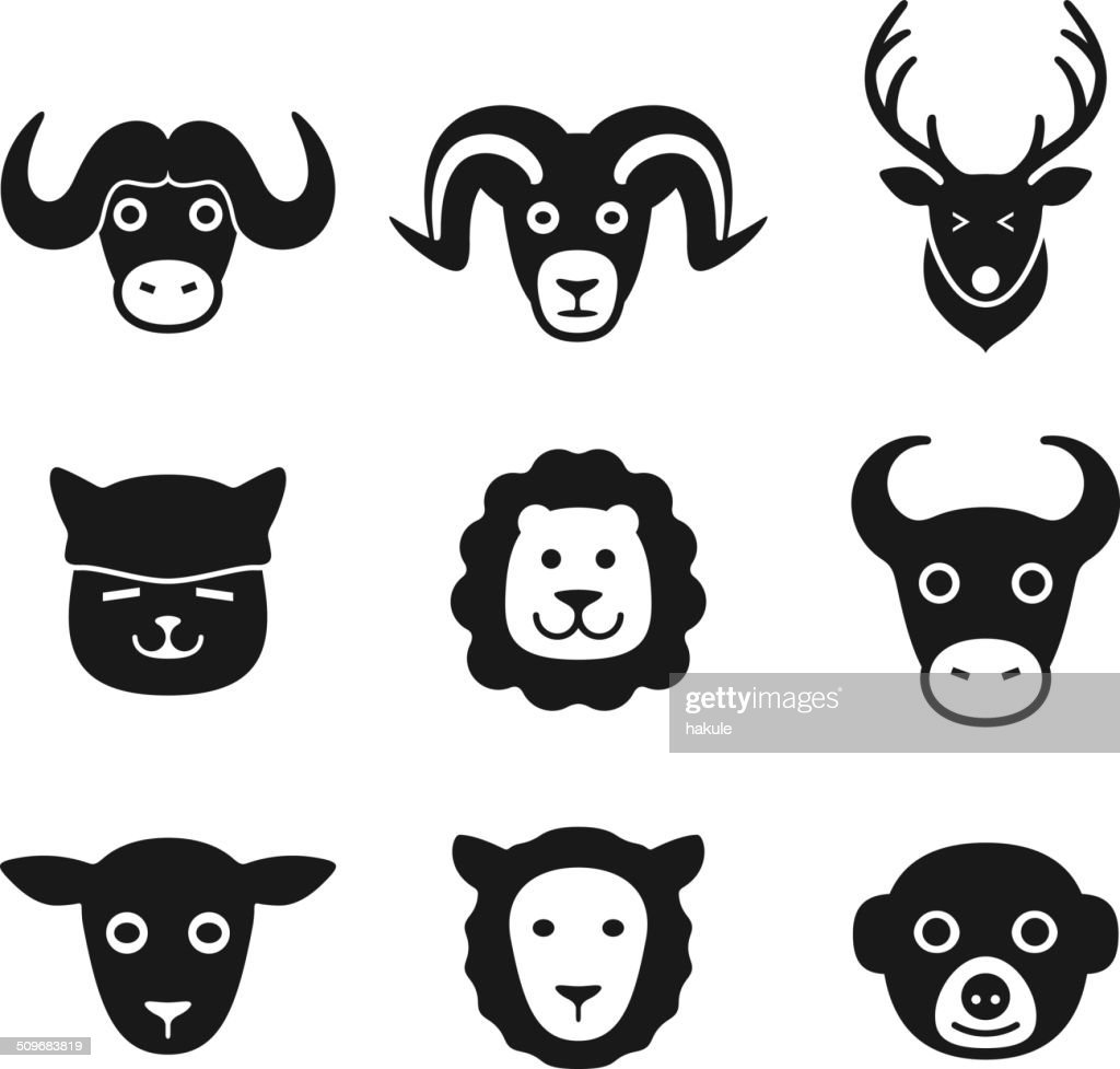 animal face icon set series
