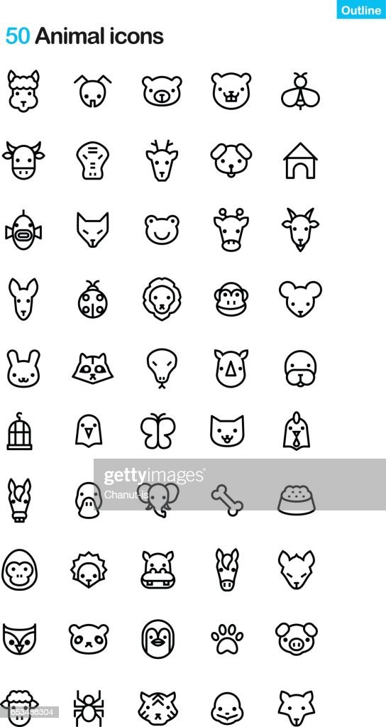 Animal Face Outline Icon Pack
