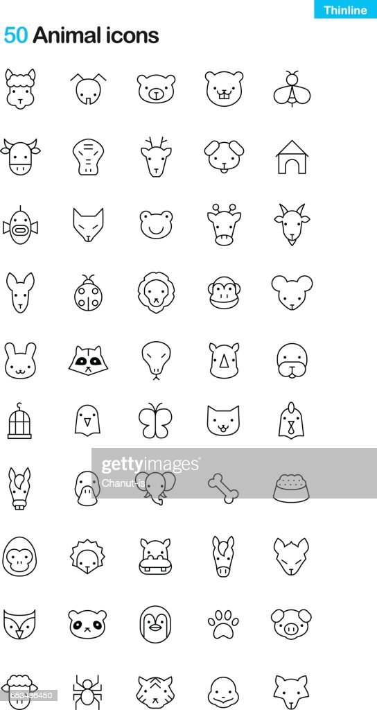 Animal Face thinline Icon Pack