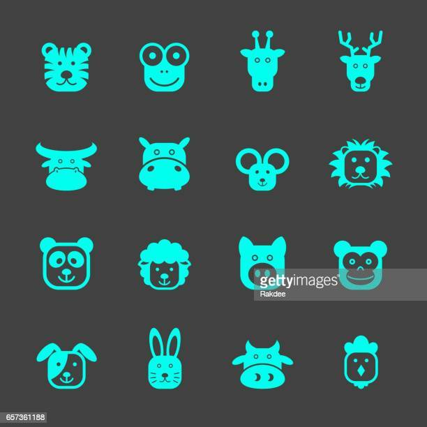 animal faces icons - hippopotamus stock illustrations, clip art, cartoons, & icons