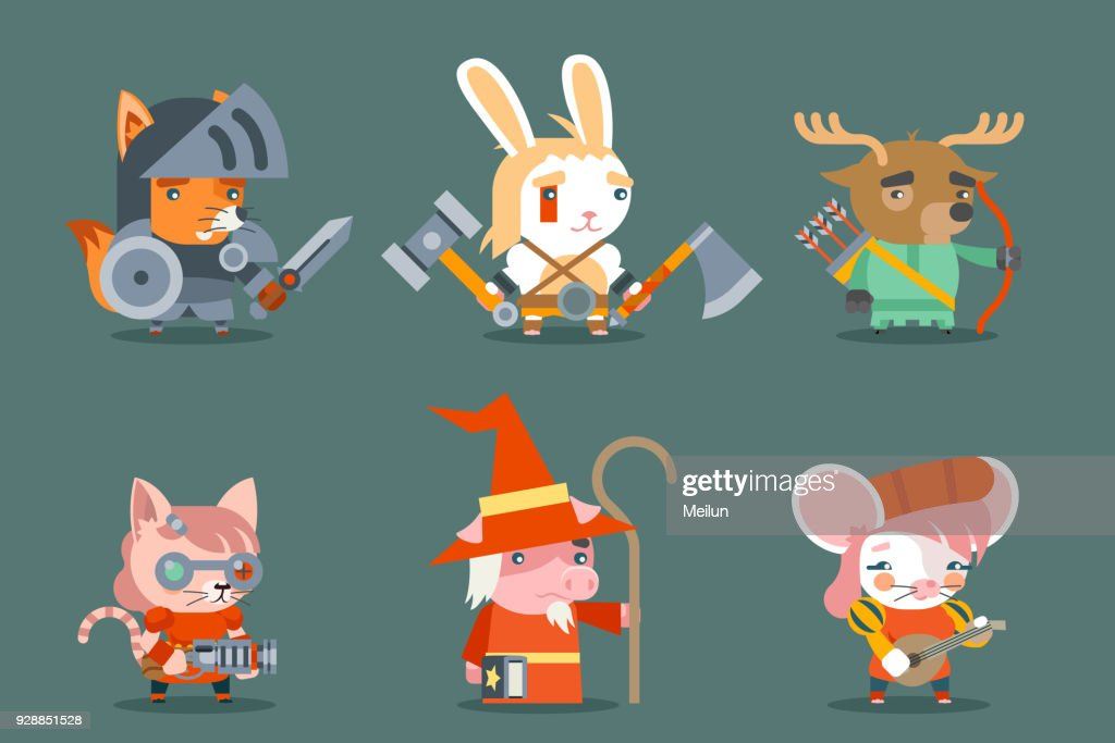 Animal fantasy rpg game heroes character vector icons set flat design vector illustration