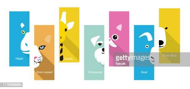 動物フラットフェイスアイコン、ベクトルイラスト - キリン点のイラスト素材/クリップアート素材/マンガ素材/アイコン素材