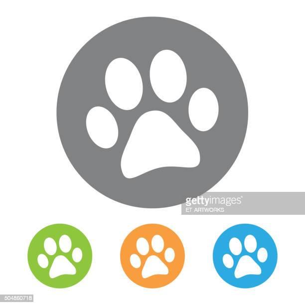 animal footprint icon. vector - animal track stock illustrations, clip art, cartoons, & icons