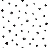 Animal footprints seamless background