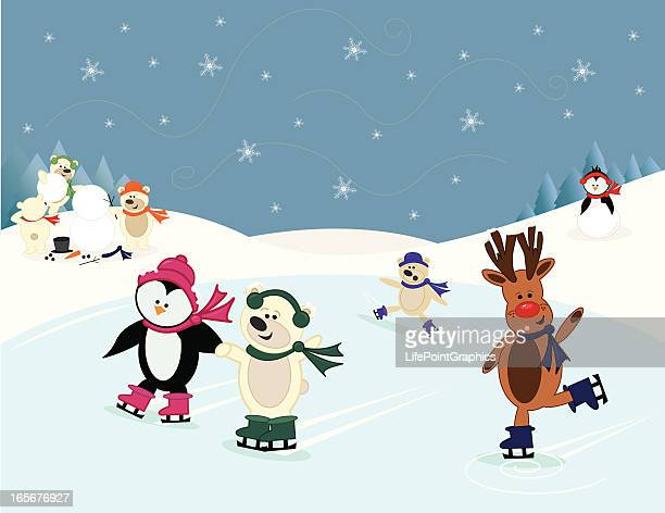 animal friends ice-skating and building a snowman in the snow - ice skating stock illustrations, clip art, cartoons, & icons