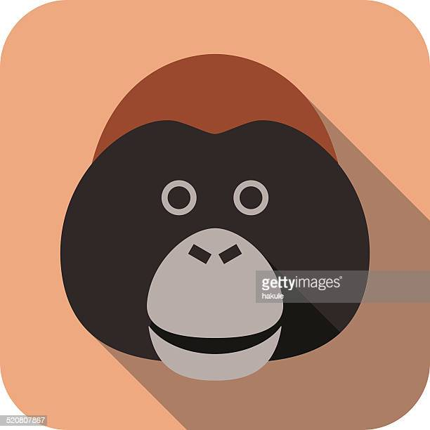 animal gorilla face flat icon - orangutan stock illustrations
