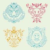 Animal heads in frames