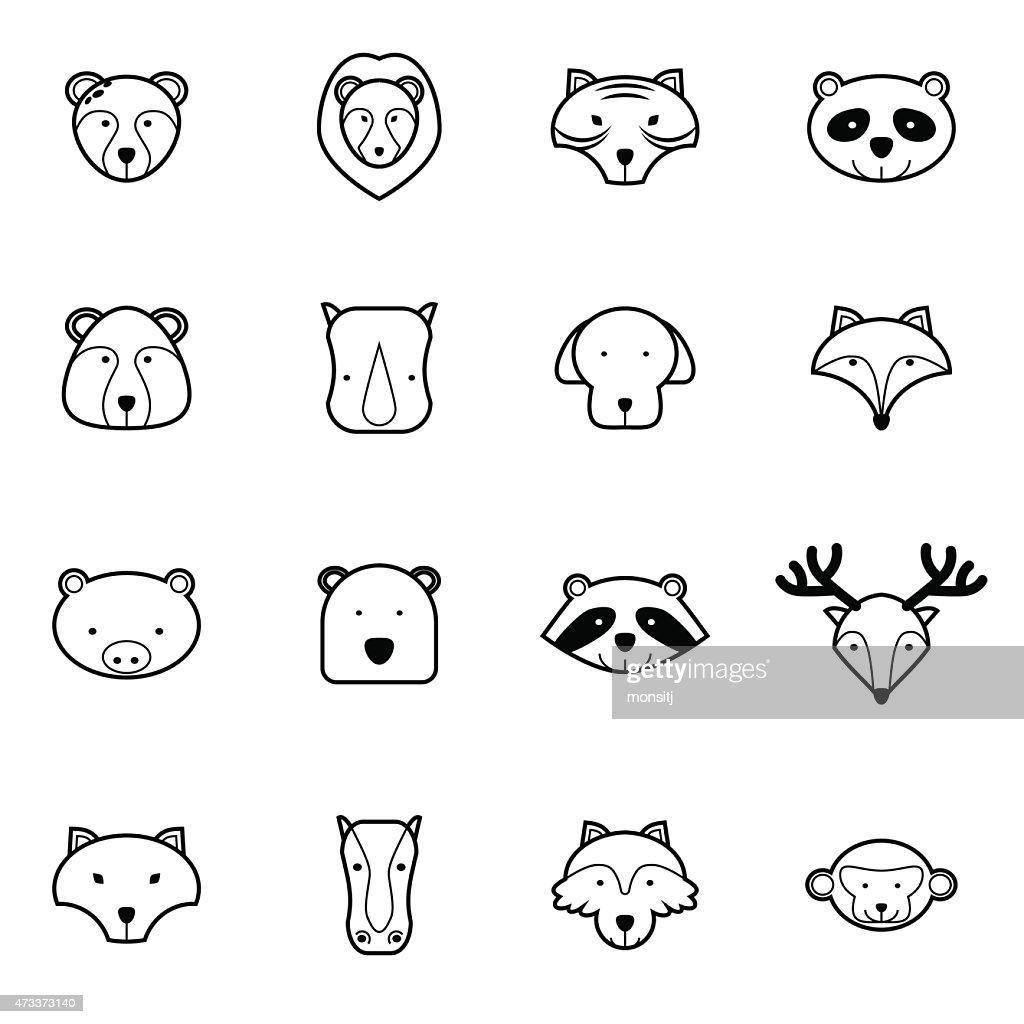 animal icons set vector illustration