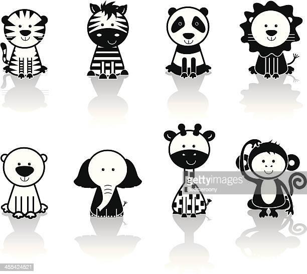 animal icons - safari animals stock illustrations