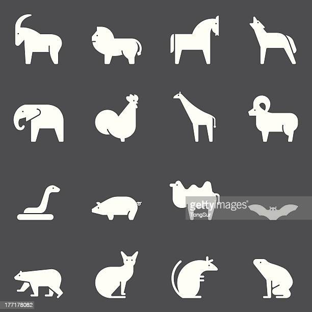 animal icons - white series - lager stock illustrations, clip art, cartoons, & icons