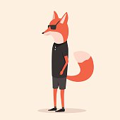 Animal in clothing. Casual style. Cartoon vector illustration