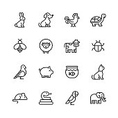 Animal Line Icons. Editable Stroke. Pixel Perfect. For Mobile and Web. Contains such icons as Rabbit, Bunny, Dog, Chicken, Turtle, Bee, Sheep, Cow, Pig, Cat, Snake, Mouse, Elephant, Parrot.
