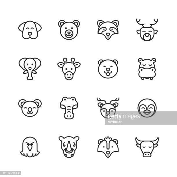 ilustrações de stock, clip art, desenhos animados e ícones de animal line icons. editable stroke. pixel perfect. for mobile and web. contains such icons as dog, bear, elephant, giraffe, cow, eagle, penguin, crocodile. - marsupial