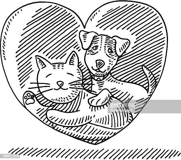 Animal Love Cat Dog Heart Drawing