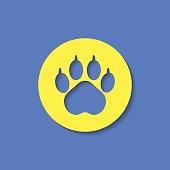 Animal paw footprint vector flat icon