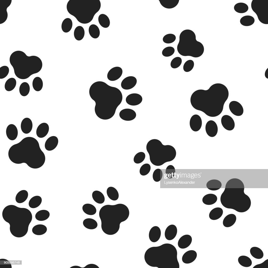 Animal paw print seamless pattern background. Business flat vector illustration. Dog or cat pawprint sign symbol pattern.