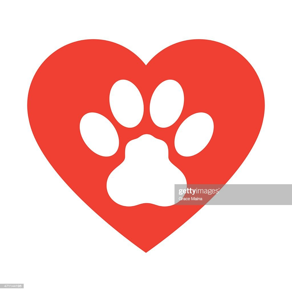 Animal Paw Print with love heart - VECTOR