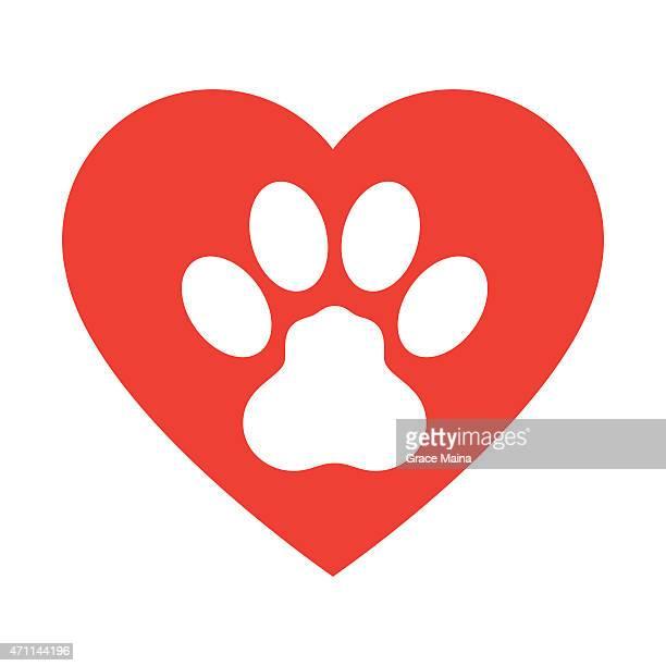 ilustrações de stock, clip art, desenhos animados e ícones de pata de animal print com amor coração-vetor - pegadadepatadeanimal