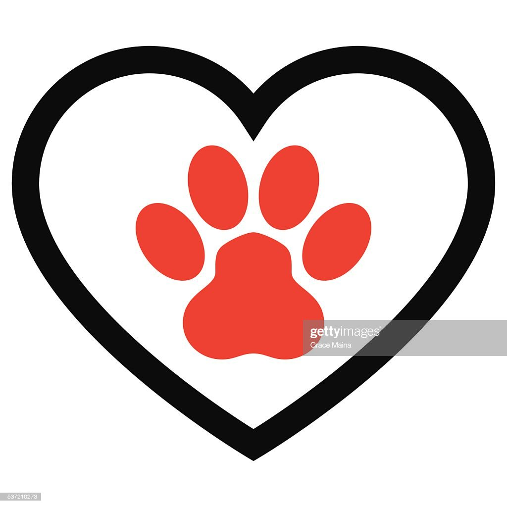 animal paw print with love heart vector vector art