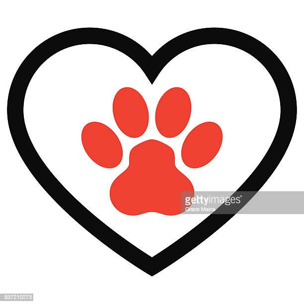 animal paw print with love heart - vector - animal heart stock illustrations, clip art, cartoons, & icons