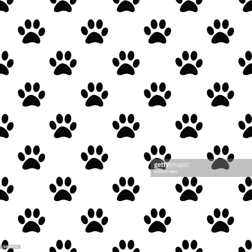 Animal paw seamless gray pattern