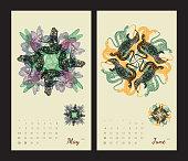 Animal printable calendar 2017 with flora and fauna fractals.