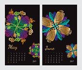 Animal printable calendar 2017 with flora and fauna fractals
