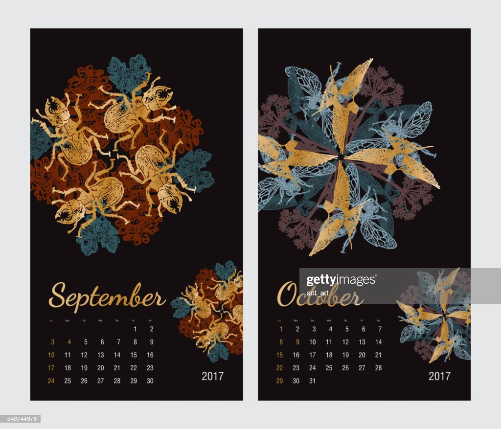 Animal printable calendar 2017 with flora and fauna fractals