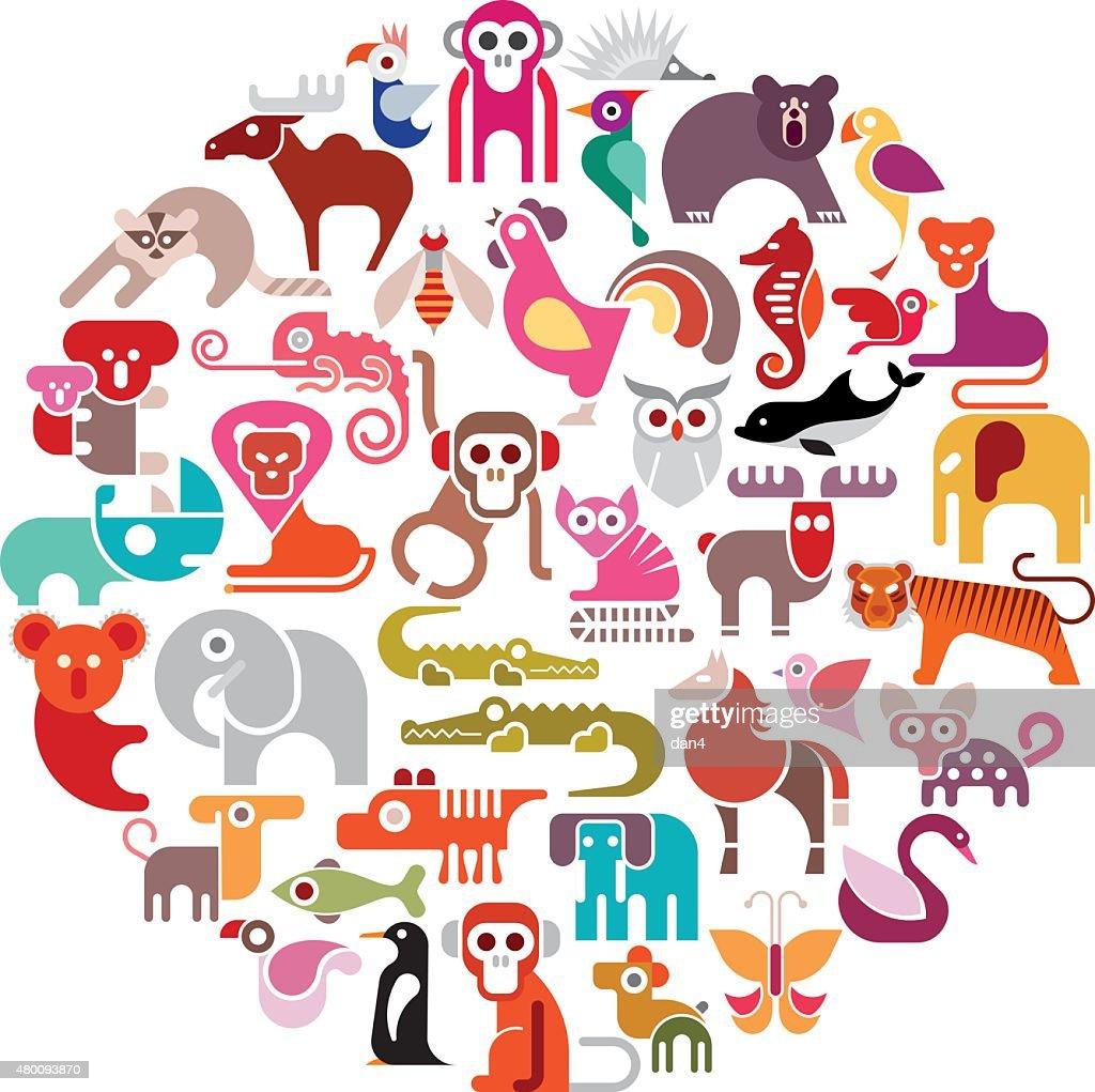 Animal Round Vector Illustration