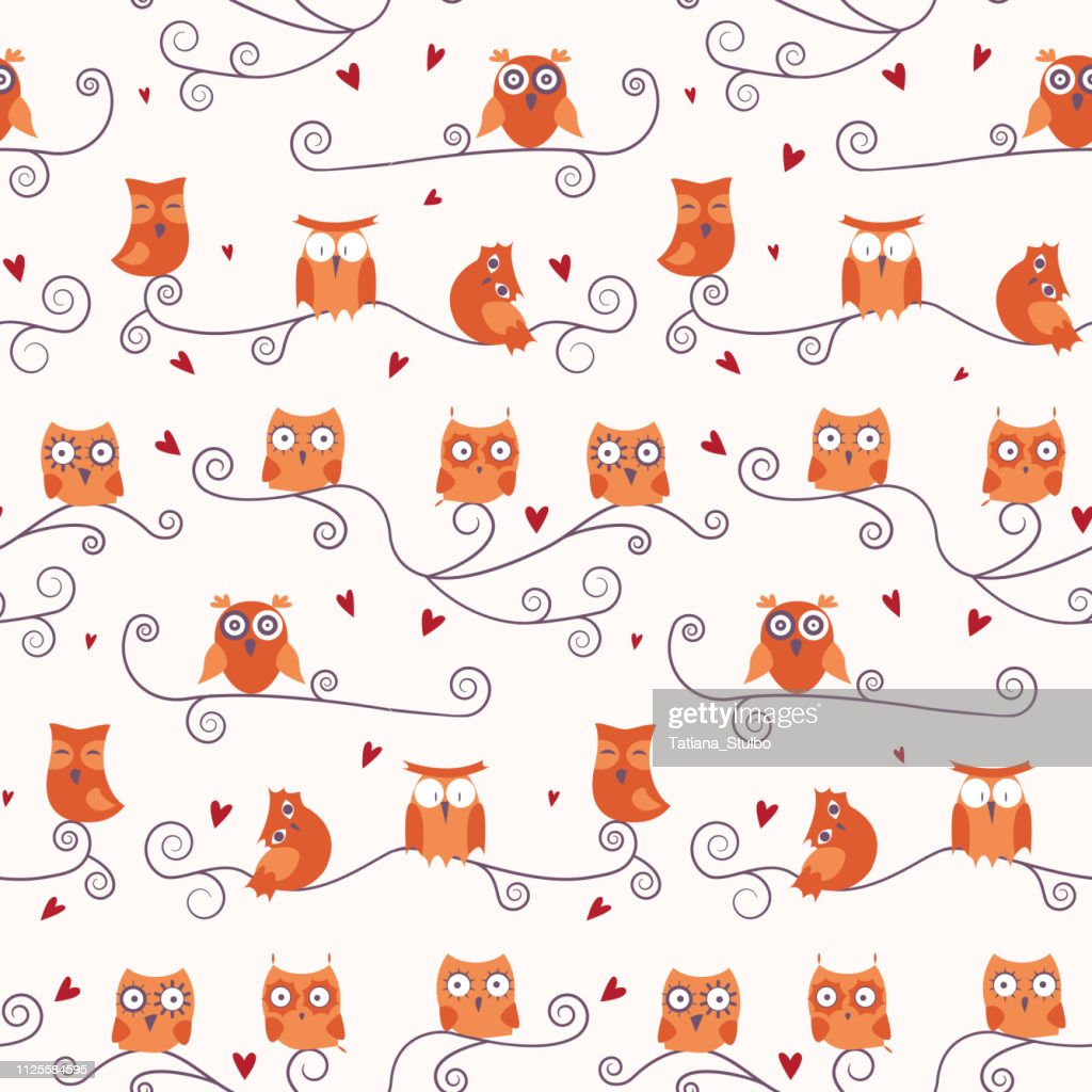 Animal seamless pattern with cartoon cute owls