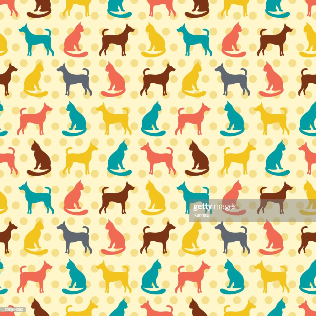 Animal seamless vector pattern of cat and dog silhouettes