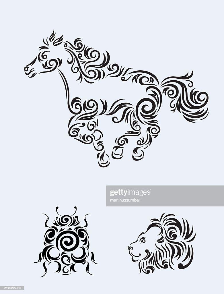 Animal set floral ornament