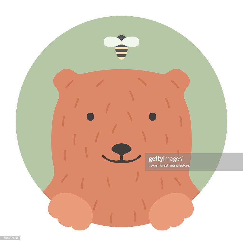 Animal set. Portrait in flat graphics - Bear