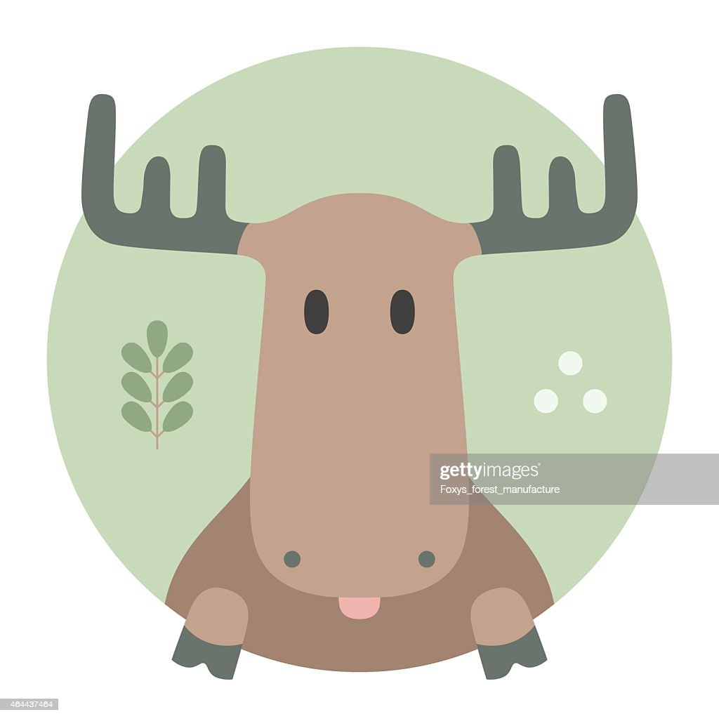 Animal set. Portrait in flat graphics - Moose
