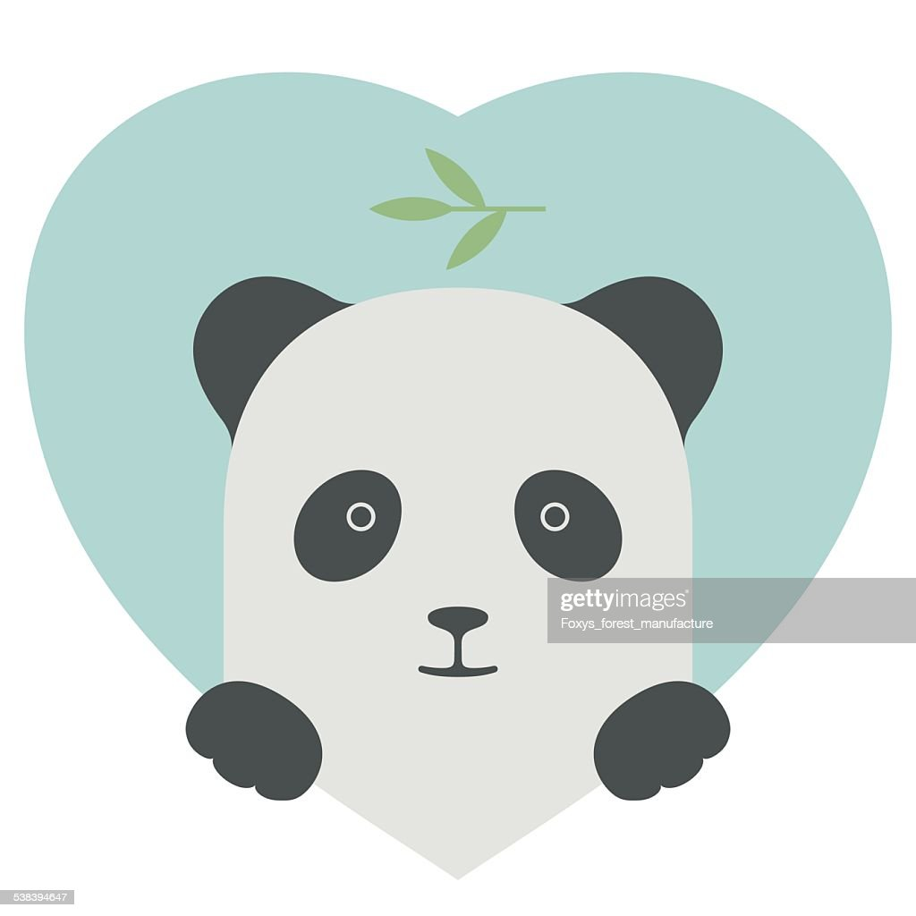 Animal set. Portrait of a panda in love over heart