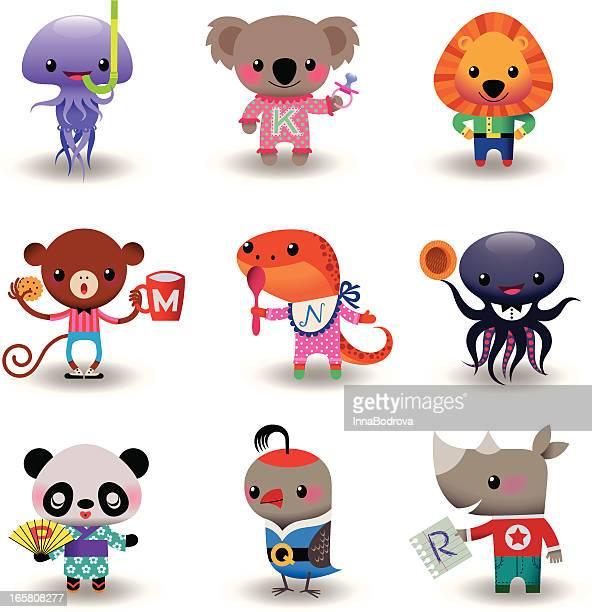 illustrations, cliparts, dessins animés et icônes de ensemble d'animaux - koala